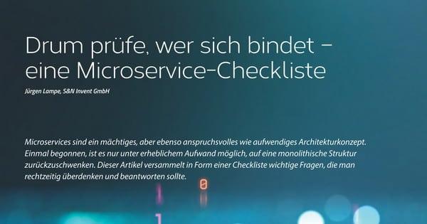 """Java aktuell veröffentlicht """"Drum prüfe, wer sich bindet – eine Microservice-Checkliste"""" von Dr. Jürgen Lampe"""
