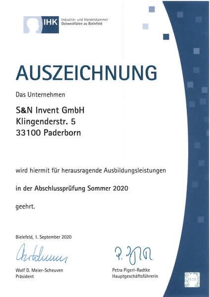 S&N Invent wird erneut für herausragende Ausbildungsleistungen geehrt - Urkunde