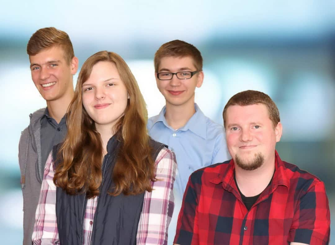 Niklas Pawolka, Dorena Hüster, Alexander Grigat und Marius Spork