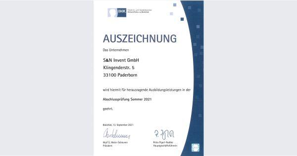 Auszeichnung: S&N Invent wird erneut für herausragende Ausbildungsleistungen ausgezeichnet